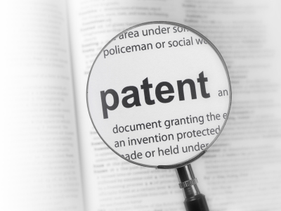 magnifying glass over the word patent
